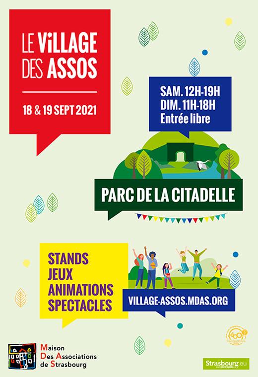 Le Village des assos 18 & 19 septembre 2021 Parc de la Citadelle  Samedi : 12h-19h Dimanche : 11h-18h Entrée libre  Stand Jeux Animations Spectacles